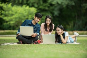 Étudiants, Adulte, Asie, Ordinateur, Ami, Amitié